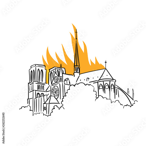 Notre-Dame de Paris fire. Tragic news from France. View of the spire. Vector Illustration. © ilyakalinin