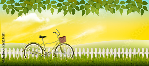 Nature summer meadow landscape with a bicycle. Vector. - 262254291