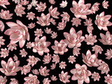 Pink flying flowers on a black background as a wallpaper - illustration 3d rendering