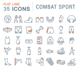 Set Vector Line Icons of Combat Sport.
