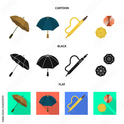 Vector design of protection and closed symbol. Set of protection and rainy stock symbol for web.