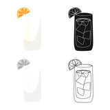 Vector illustration of cocktail and glass symbol. Collection of cocktail and lemon vector icon for stock.