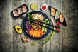 Top view composition of vietnamese food in bowl - 262270496