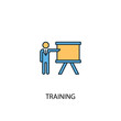 training concept 2 colored line icon. Simple yellow and blue element illustration. training concept outline symbol design