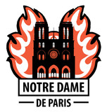 Logo with the image of the Cathedral of Notre Dame on fire