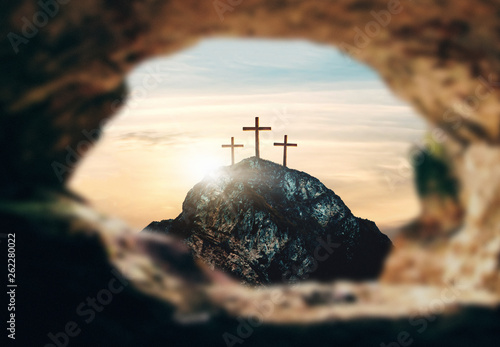 Crucifixion of Jesus Christ, three crosses on hill, 3d rendering