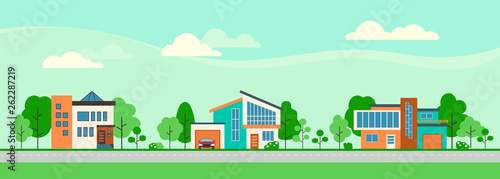 Suburban houses along the street. Set private houses in flat design style. Colorful residential houses and trees.  - 262287219
