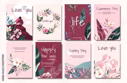 pink vector card with illustration couple, leaves, flower. Tropic design concept. Romantic cute poster, flyer, wedding invite. decorative greeting card or invitation background