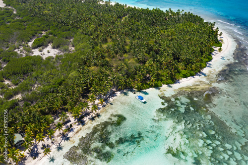 Aerial view from drone on tropical island with palm trees and speed boat shipping in caribbean sea