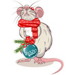 Rat with Christmas Ball - 262317259