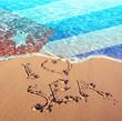 Beach sand, sea and flag Cuba. I love Cuba concept