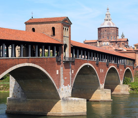 bridge over the TICINO River in Pavia in Italy