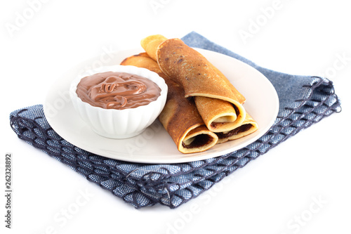 canvas print picture Classic French Crepes with Chocolate Hazelnut Spread