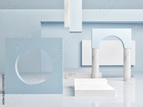 Mock up podium in abstract world,  3d render, 3d illustration © nikolarakic