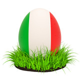 Easter egg with flag of Italy in the green grass, 3D rendering