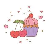 muffin and cherries