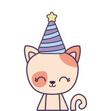 cute cat animal with hat party