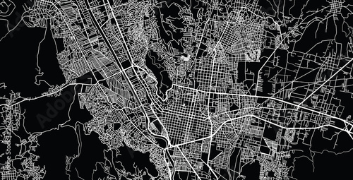 Urban vector city map of Oaxaca, Mexico