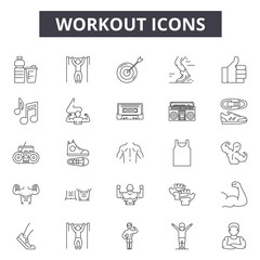 Workout line icons, signs set, vector. Workout outline concept illustration: gym,fitness,sport,exercise,training,workout,health,equipment,weight