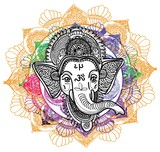 Ganesha is a god. The head of an elephant. Indian deity, religious symbol. Drawing by hand.