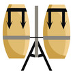 The big brown coloured hand drums vector or color illustration