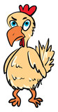 A chicken with an angry expression vector or color illustration