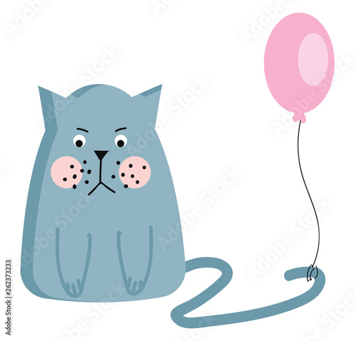 An angry cat with a balloon tied to its tail vector or color illustration