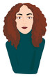 A girl with brown hair eyes and lips looks cute vector or color illustration