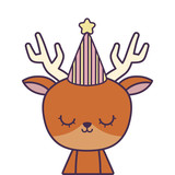 cute reindeer with hat party
