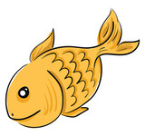 Goldfish swimming in the water vector or color illustration