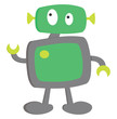 A cute little cartoon robot ready to execute its action vector or color illustration