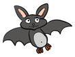 A sad cartoon grey-colored bat vector or color illustration - 262377279