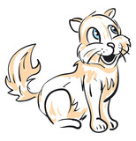 An orange sketch of a laughing cat vector or color illustration