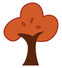 Painting of a beautiful brown tree vector or color illustration