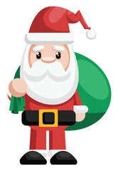 Simple illustration of a Santa holding green bag with presents vector illustration on a white background