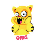 Yellow suprised cat saying OMG vector illustration on a white background