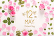 Mother's Day message with roses and leaves top view flat lay - 262389888