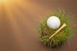 Golf Ball in grass on white background. Sport and Recreation Concept