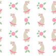 Seamless pattern with bunny girls. wallpaper with funny cartoon rabbits and flowers. Tender picture for textile on white background. - 262419671
