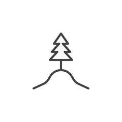 Forest tree line icon. linear style sign for mobile concept and web design. Tree on top of Hill outline vector icon. Symbol, logo illustration. Pixel perfect vector graphics
