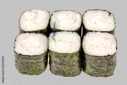 sushi maki roll with shrimp on a gray background