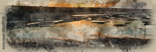 Watercolor painting of Beautiful sunrise panorama landscape reflected in pools on beach