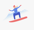 Woman riding snowboard in mountains