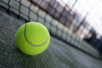 Paddle tennis balls, racket, balls and net