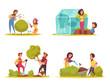Gardening Cartoon Design Concept