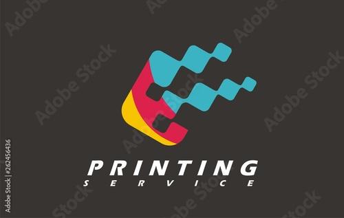 Printing service typography imprint logo. Digital express copy vector print. Business design press printer color. Stamp fast photo studio graphic.