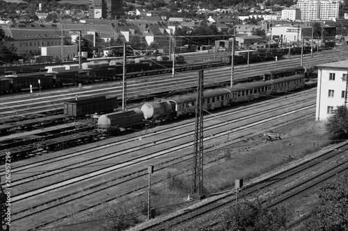 Old train on track black white