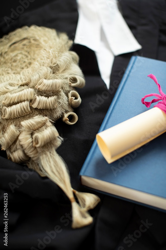 Legal Concept Still Life Of Barristers Wig With Gown And Brief © Daisy Daisy