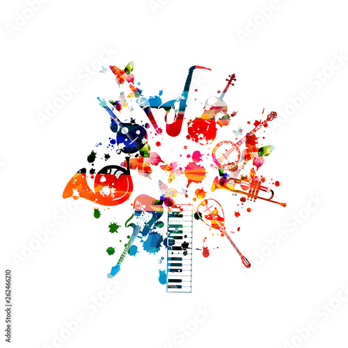 Music instruments background. Colorful piano keyboard, guitar, french horn, Portuguese guitar, microphone, saxophone, violoncello, banjo, trumpet, mandolin isolated vector illustration design © abstract