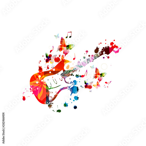 Colorful electric guitar with music notes isolated vector illustration design. Music background. Guitar poster with music notes, music festival poster, live concert events, party flyer © abstract
